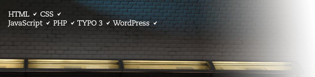 HTML, CSS, JavaScript, PHP, Typo3, WordPress