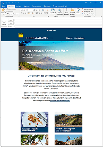 Mailing ADAC Reisemagazin