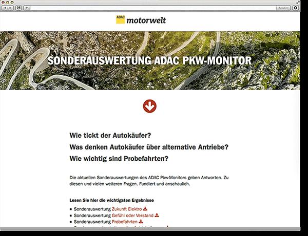 ADAC Motorwelt Sonderauswertung PKW-Monitor: Onepager, Scroll Site, Parallax, Responsive, Typo3