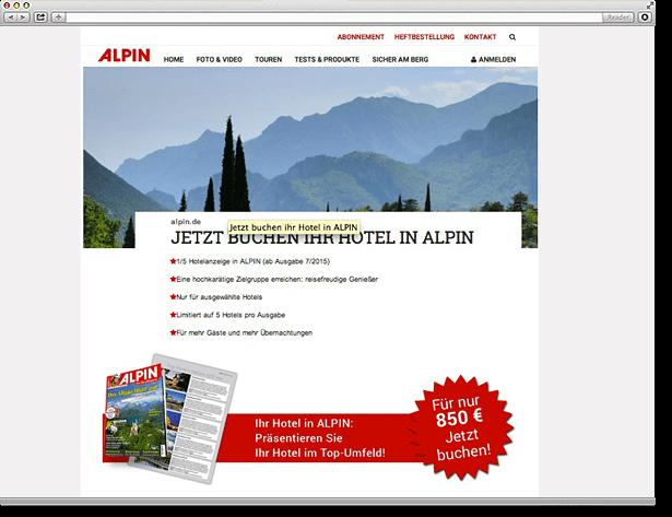 Olympia Verlag ALPIN Landingpage