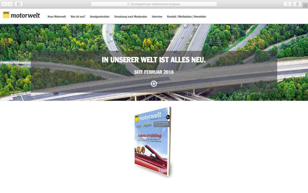 ADAC Motorwelt Onepager TYPO3 – Onepager, dynamische Grafiken